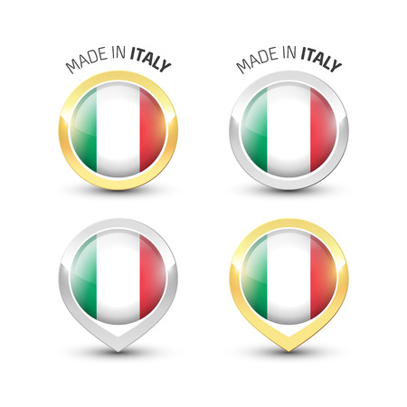 Made in Italy - Guarantee label with the Italian flag inside round gold and silver icons.