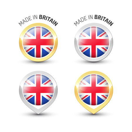 Made in Britain UK - Guarantee label with the flag of the United Kingdom inside round gold and silver icons.