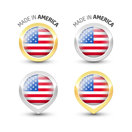 Made in America USA - Guarantee label with the flag of the United States of America inside round gold and silver icons.