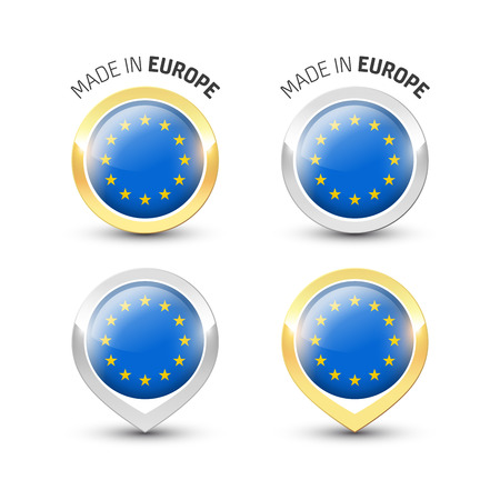 Made in Europe EU - Guarantee label with the flag of European Union inside round gold and silver icons. Illustration
