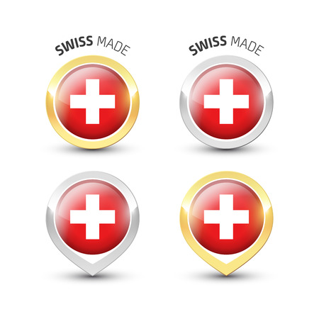 Swiss made - Guarantee label with the flag of Switzerland inside round gold and silver icons. Illustration