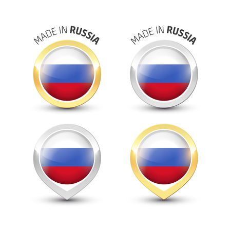 Made in Russia - Guarantee label with the Russian flag inside round gold and silver icons.