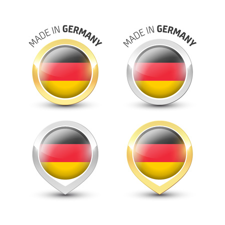 Made in Germany - Guarantee label with the German flag inside round gold and silver icons.