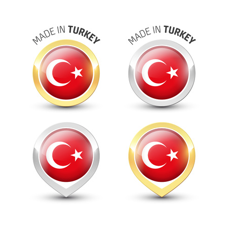Made in Turkey - Guarantee label with the Turkish flag inside round gold and silver icons. Ilustrace