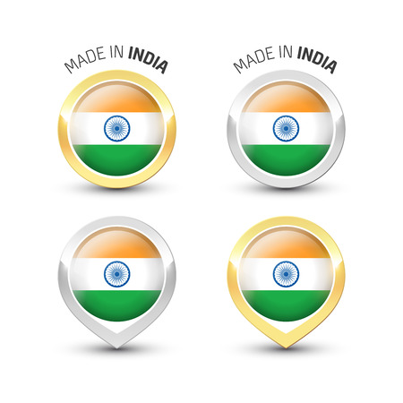 Made in India - Guarantee label with the Indian flag inside round gold and silver icons. Ilustrace