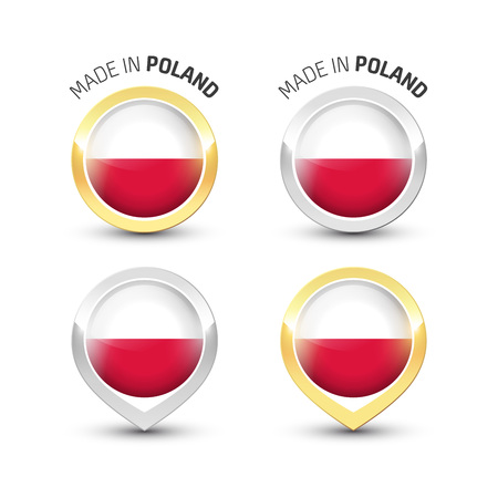 Made in Poland - Guarantee label with the Polish flag inside round gold and silver icons. Ilustrace