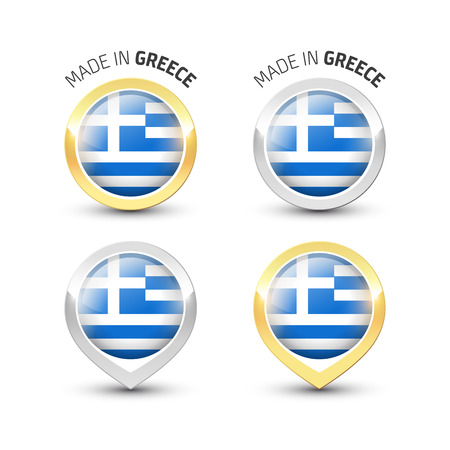 Made in Greece - Guarantee label with the Greek flag inside round gold and silver icons. Ilustrace