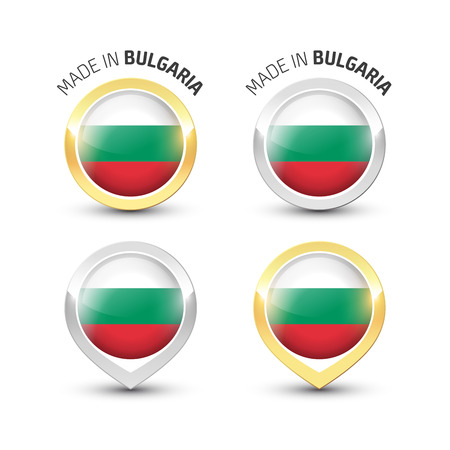 Made in Bulgaria - Guarantee label with the Bulgarian flag inside round gold and silver icons.