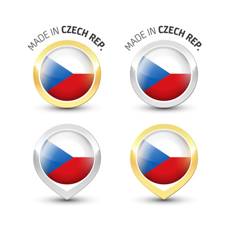 Made in Czech Republic - Guarantee label with the Czech flag inside round gold and silver icons.