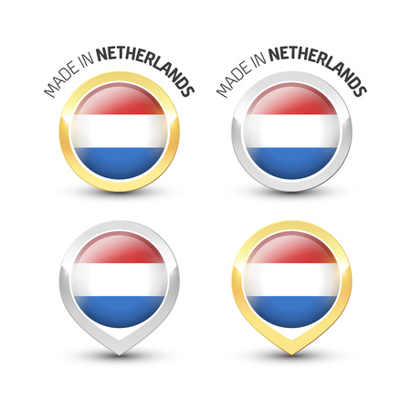 Made in Netherlands - Guarantee label with the Dutch flag inside round gold and silver icons.