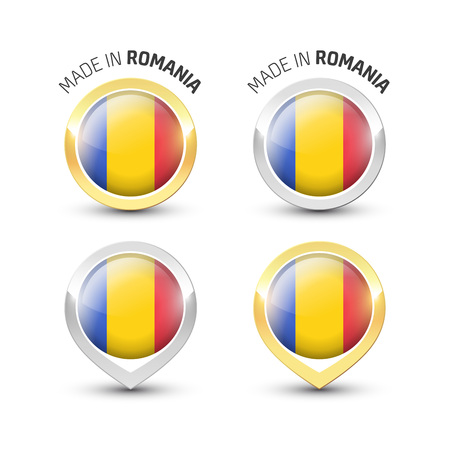 Made in Romania - Guarantee label with the Romanian flag inside round gold and silver icons.