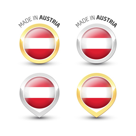 Made in Austria - Guarantee label with the Austrian flag inside round gold and silver icons.