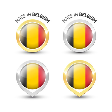 Made in Belgium - Guarantee label with the Belgian flag inside round gold and silver icons.