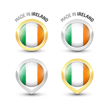 Made in Ireland - Guarantee label with the Irish flag inside round gold and silver icons. Ilustrace
