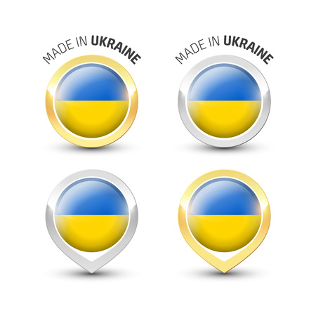 Made in Ukraine - Guarantee label with the Ukrainian flag inside round gold and silver icons. Reklamní fotografie - 119792977