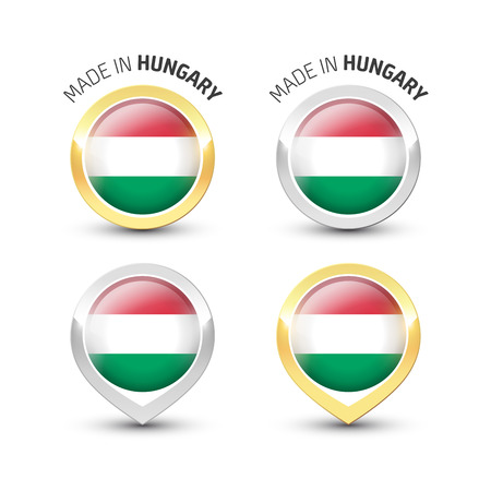 Made in Hungary - Guarantee label with the Hungarian flag inside round gold and silver icons.