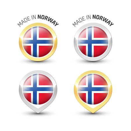 Made in Norway - Guarantee label with the Norwegian flag inside round gold and silver icons. Reklamní fotografie - 119792979