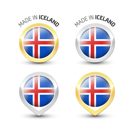 Made in Iceland - Guarantee label with the Icelandic flag inside round gold and silver icons. Illustration
