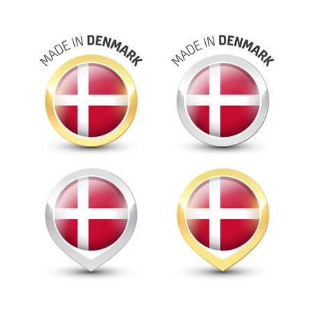 Made in Denmark - Guarantee label with the Danish flag inside round gold and silver icons. Illustration