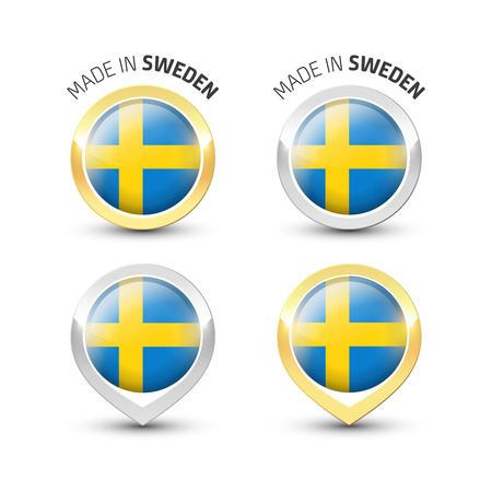 Made in Sweden - Guarantee label with the Swedish flag inside round gold and silver icons. Reklamní fotografie - 119792983
