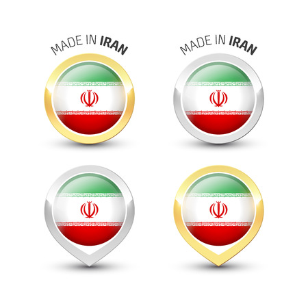 Made in Iran - Guarantee label with the Iranian flag inside round gold and silver icons. Reklamní fotografie - 119792987