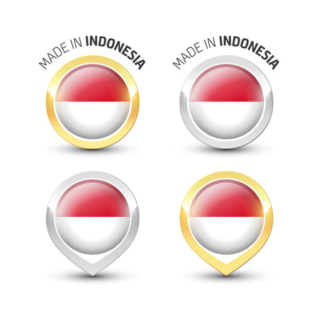 Made in Indonesia - Guarantee label with the Indonesian flag inside round gold and silver icons.