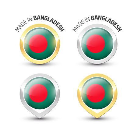 Made in Bangladesh - Guarantee label with the flag of Bangladesh inside round gold and silver icons. Reklamní fotografie - 119792989