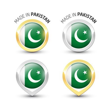 Made in Pakistan - Guarantee label with the Pakistani flag inside round gold and silver icons. Reklamní fotografie - 119792991