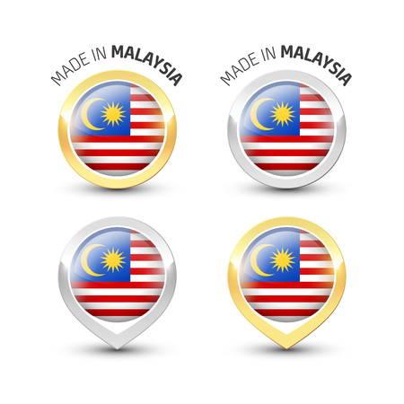Made in Malaysia - Guarantee label with the Malaysian flag inside round gold and silver icons. Illustration