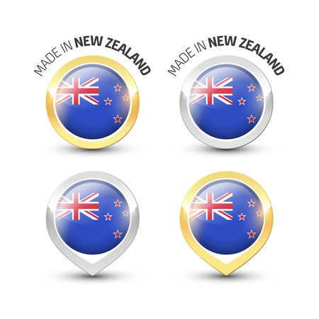 Made in New Zealand - Guarantee label with the flag of New Zealand inside round gold and silver icons.