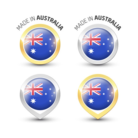Made in Australia - Guarantee label with the Australian flag inside round gold and silver icons. Reklamní fotografie - 119792995