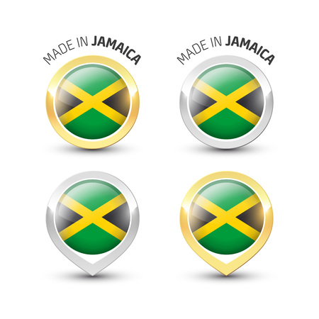 Made in Jamaica - Guarantee label with the Jamaican flag inside round gold and silver icons. Illustration