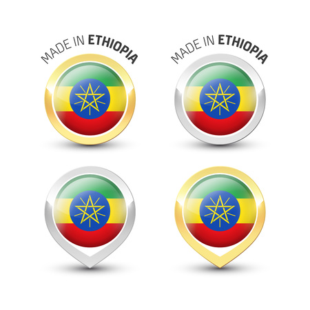 Made in Ethiopia - Guarantee label with the Ethiopian flag inside round gold and silver icons. Illustration