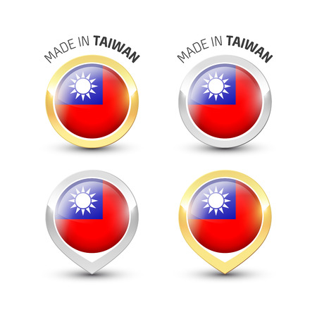 Made in Taiwan - Guarantee label with the Taiwanese flag inside round gold and silver icons. Reklamní fotografie - 119793002