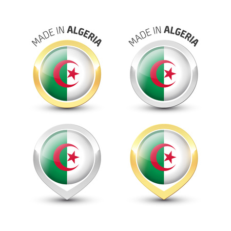 Made in Algeria - Guarantee label with the Algerian flag inside round gold and silver icons. Illustration