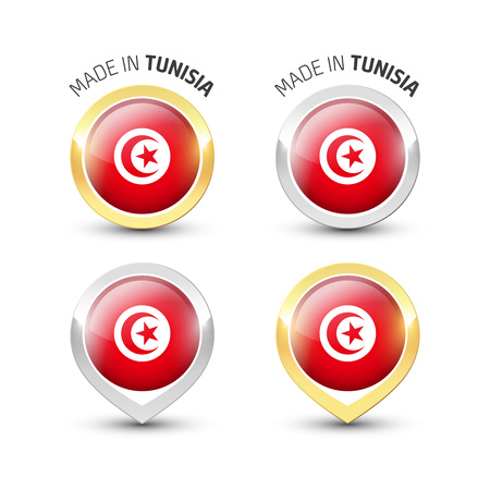 Made in Tunisia - Guarantee label with the Tunisian flag inside round gold and silver icons. Ilustrace
