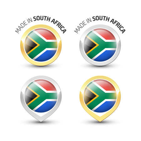 Made in South Africa - Guarantee label with the South African flag inside round gold and silver icons. Reklamní fotografie - 119793001