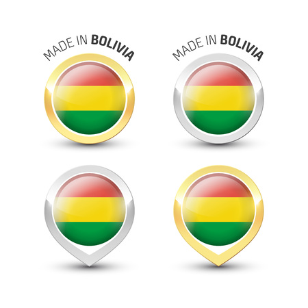 Made in Bolivia - Guarantee label with the Bolivian flag inside round gold and silver icons.