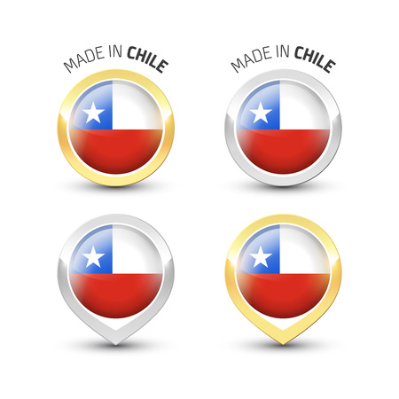 Made in Chile - Guarantee label with the Chilean flag inside round gold and silver icons. Reklamní fotografie - 119793008