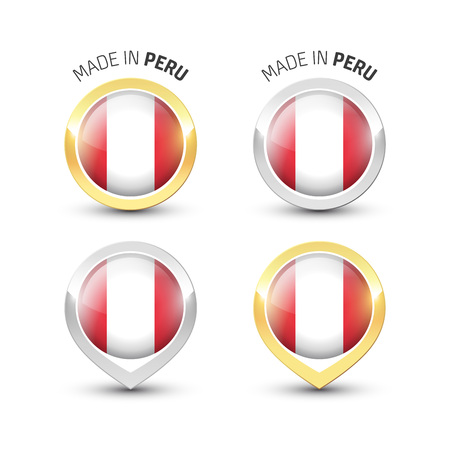 Made in Peru - Guarantee label with the Peruvian flag inside round gold and silver icons. Ilustrace