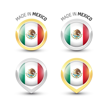 Made in Mexico - Guarantee label with the Mexican flag inside round gold and silver icons.  イラスト・ベクター素材