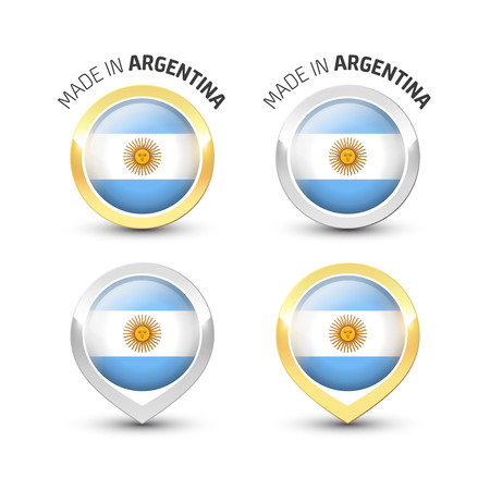 Made in Argentina - Guarantee label with the Argentine flag inside round gold and silver icons. Reklamní fotografie - 119793007