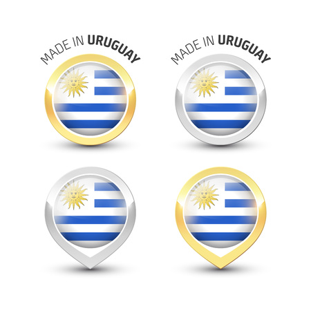 Made in Uruguay - Guarantee label with the Uruguayan flag inside round gold and silver icons. Illustration