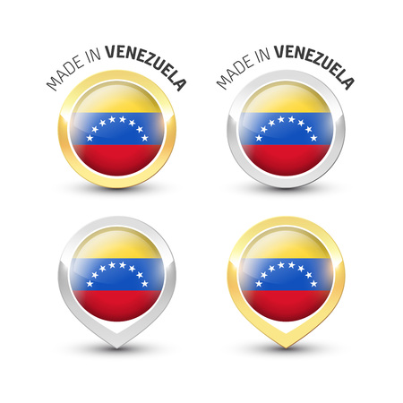 Made in Venezuela - Guarantee label with the Venezuelan flag inside round gold and silver icons. Ilustrace
