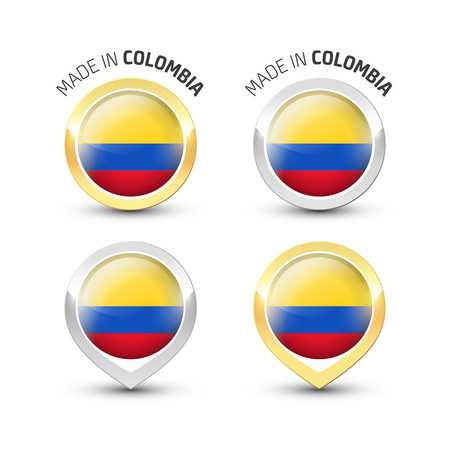 Made in Colombia - Guarantee label with the Colombian flag inside round gold and silver icons.