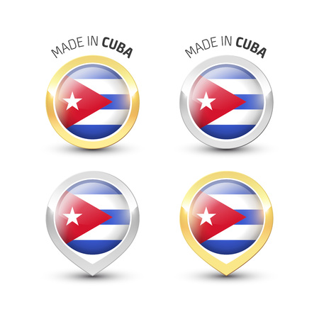 Made in Cuba - Guarantee label with the Cuban flag inside round gold and silver icons. Ilustrace