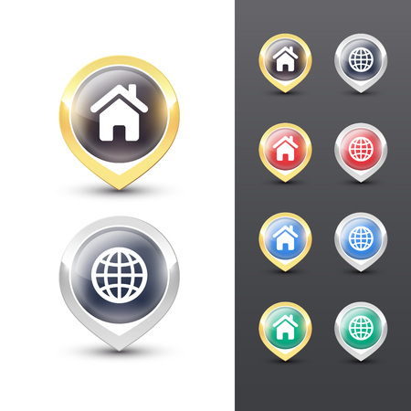 Pointer icons with metallic gold and silver border, map and home symbols inside. Vector location pins isolated on white background. Reklamní fotografie - 119793014