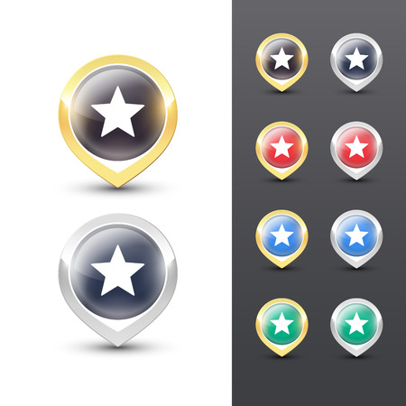 Pointer icons with metallic gold and silver border, a star symbol inside. Vector location pins isolated on white background. Reklamní fotografie - 119793018