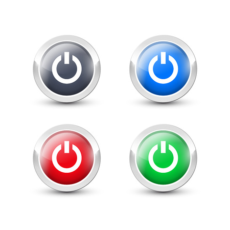Round power buttons with metallic silver border. Vector start button icons isolated on white background. Illustration