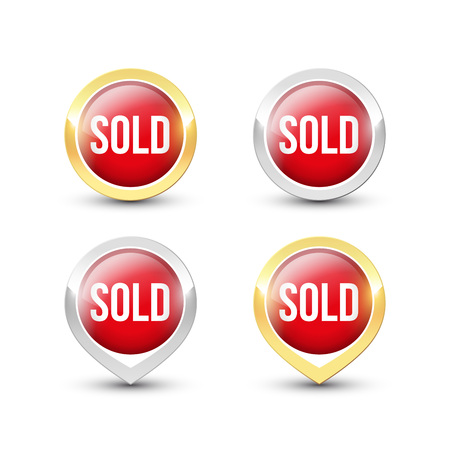 Red round SOLD buttons and pointers with metallic gold and silver border. Vector label icons isolated on white background.